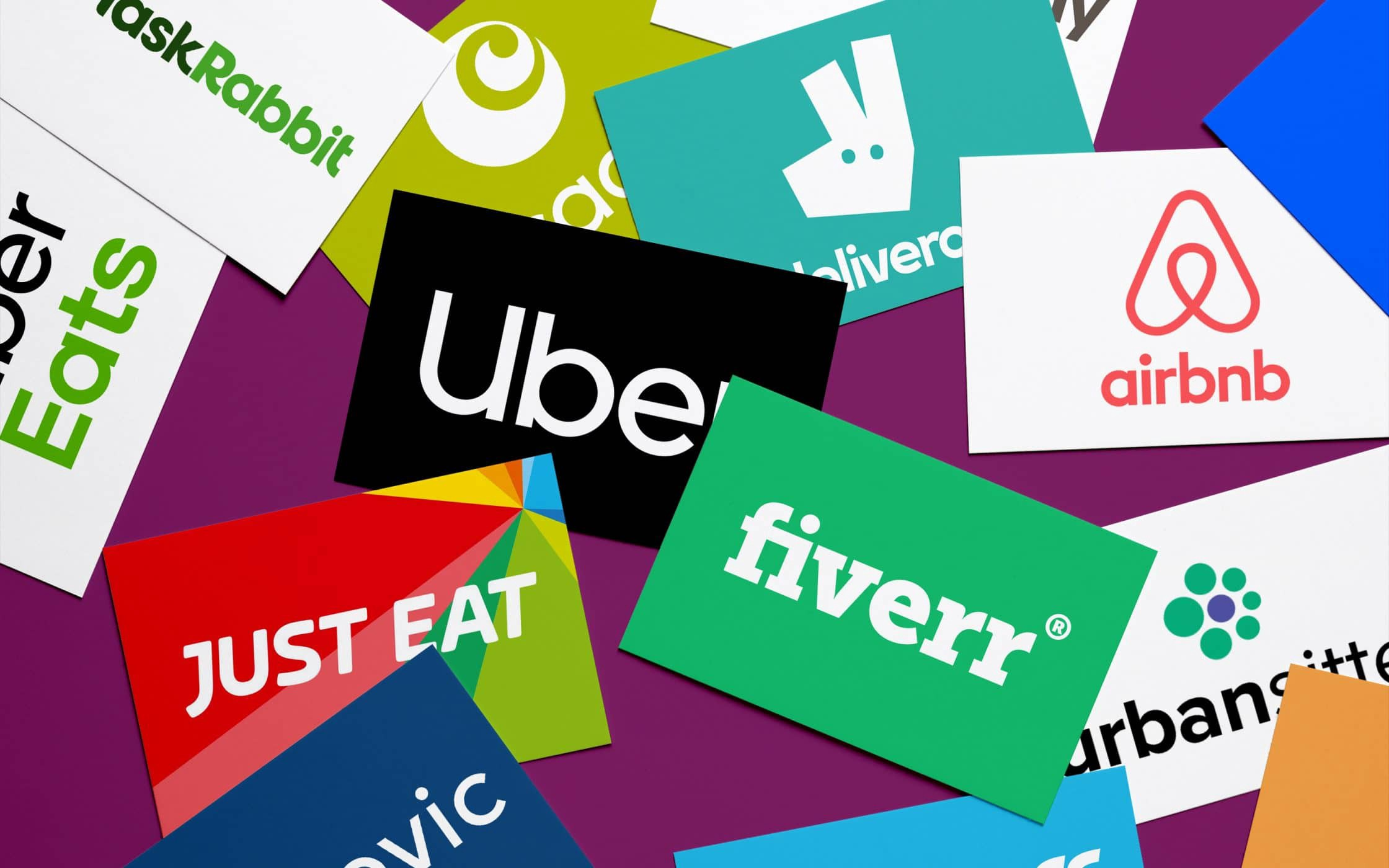 Collage of app-based job logos such as fiverr, Uber, AirBNB, UberEats, and more.